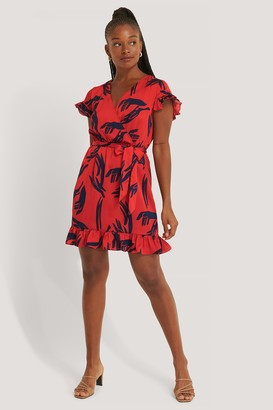 NA-KD Wrap Frill Sleeve Dress
