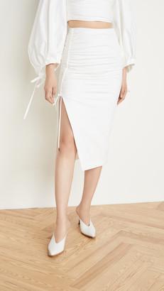 Prabal Gurung Poplin Side Ruched Skirt