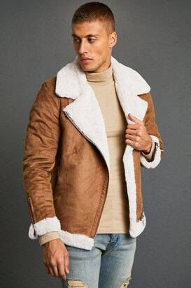boohoo Mens Brown Faux Fur Lined Suede Aviator, Brown