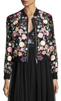 Needle & Thread Flower Foliage Embroidered Bomber Jacket, Black