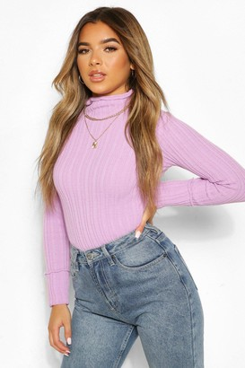 boohoo Petite Knitted Lettuce Hem High Neck Top