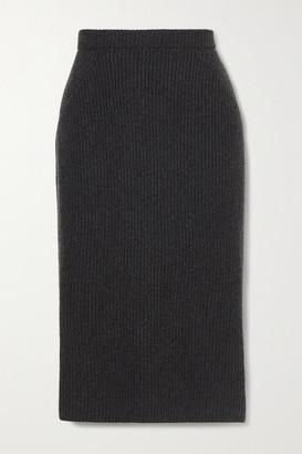 Loro Piana Ribbed Cashmere Midi Skirt - Dark gray