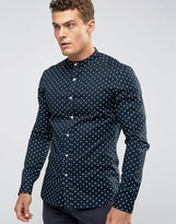 Asos Skinny Polka Dot Shirt With Grandad Collar In Navy
