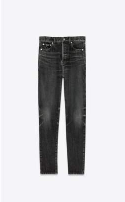 Saint Laurent Slim Jeans In Dirty Medium Black Denim