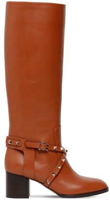 Valentino 60mm Rockstud Tall Leather Boots