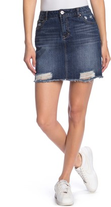 1822 Denim Distressed Frayed Hem Denim Skirt