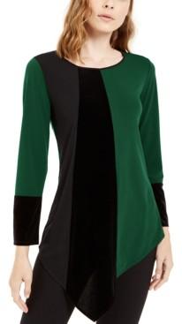 Alfani Petite Asymmetrical-Hem Colorblocked Top, Created for Macy's
