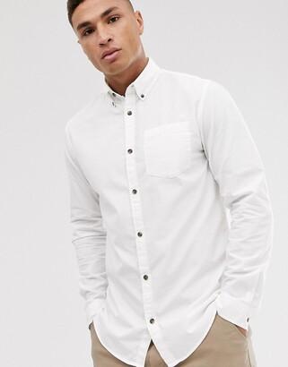 Jack and Jones Originals poplin long sleeve shirt in white