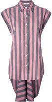 Tome wide stripe sleeveless lace back shirt - women - Cotton - 6
