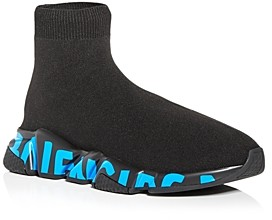 Balenciaga Men's Speed Graffiti Knit High Top Sneakers
