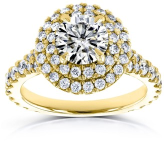 Annello by Kobelli 14k Yellow Gold 2 1/3 Carat TGW Domed Cluster Moissanite and Diamond Double Halo Ring