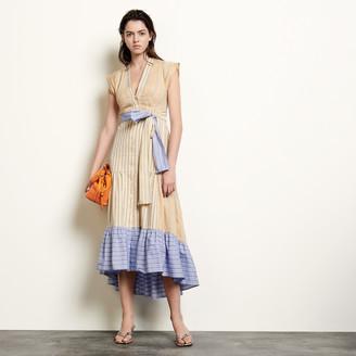 Sandro Long asymmetric dress with stripes