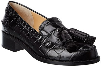 Christian Louboutin Badmoc Croc-Embossed Leather Loafer