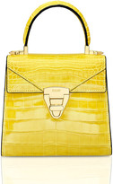 Stalvey Mini Trapezoid Crocodile Top Handle Bag, Yellow