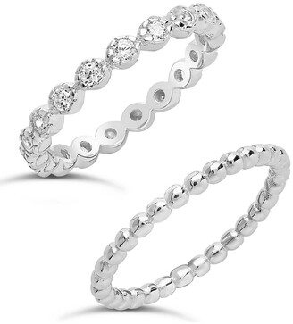 Sterling Forever Sterling Silver Stone & Beaded Band Ring - Set of 2