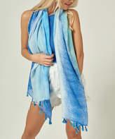 Simmly Women's Accent Scarves Blue - Blue Ombre Tassel-Trim Lightweight Scarf - Women