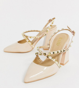 Raid Wide Fit RAID Wide Fit Hanley blush studded heeled shoes-Beige