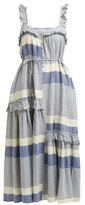 Apiece Apart Lypie Stripe Ruffle-sleeve Maxi Dress - Womens - Blue White