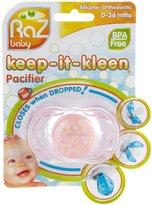 Razbaby Keep-It-Kleen Pacifier - Pink with Flowers/Hearts