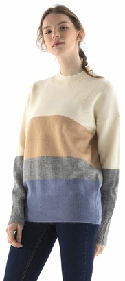 Fancy Stitch Women's Crewneck Color Block Knit Oversized Cozy Wool Sweater Blouse Tops