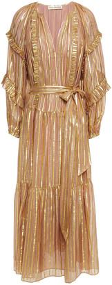 Ulla Johnson Talitha Ruffled Striped Silk And Lurex-blend Midi Dress