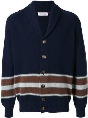 Brunello Cucinelli striped shawl cardigan