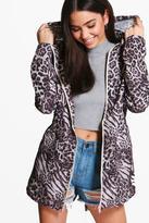 Boohoo Evelyn Animal Print Mac With Detachable Hood