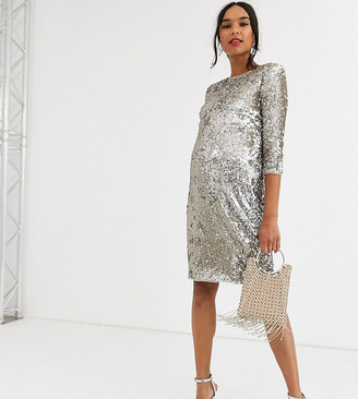 TFNC Maternity Materrnity patterned sequin bodycon mini dressin gold and silver-Multi
