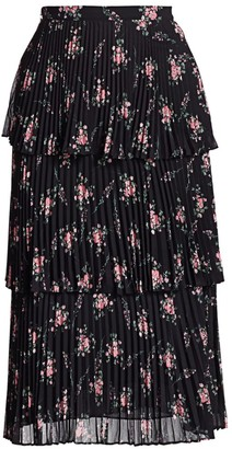ML Monique Lhuillier Floral Pleated & Tiered Midi Skirt