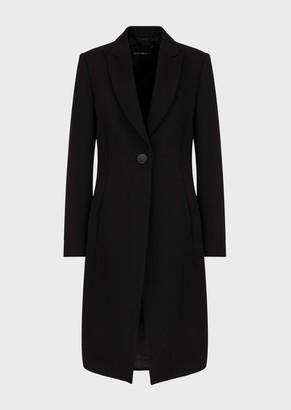 Emporio Armani Pure, Virgin-Wool Gabardine, Single-Breasted Coat