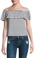 Splendid Ruffled Striped Off-The-Shoulder Top