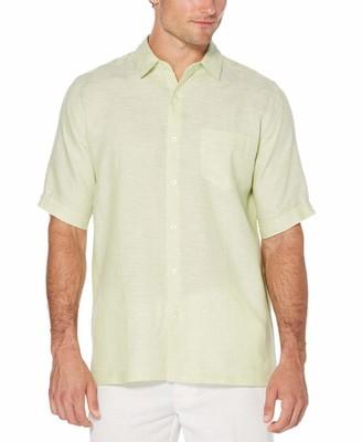 Cubavera Big & Tall 100% Linen 1 Pocket Cross Dye Shirt