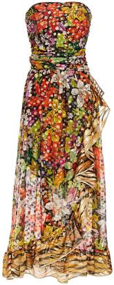 Dundas Strapless Metallic Fil Coupe Printed Silk-blend Maxi Dress
