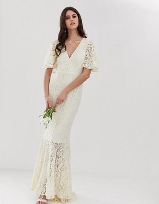 Y.A.S Wedding lace fishtail dress-White