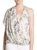Haute Hippie Printed Silk One-Shoulder Blouse