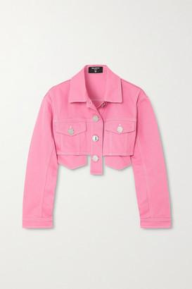 Balmain Cropped Denim Jacket - Pink
