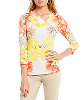 Calvin Klein Floral Twin Print Pleated V-Neck With Metal Bar Trim Top