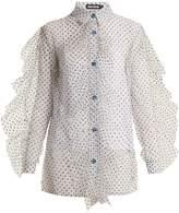 House of Holland Polka-dot ruffled sheer-tulle shirt
