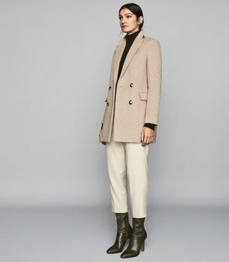 Reiss MARLOE Double Breasted Short Wool Coat Neutral