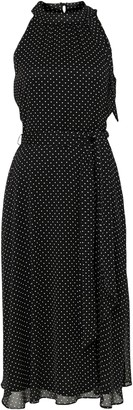 Wallis Black Polka Dot Print Midi Dress