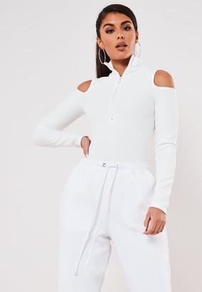 Missguided White Rib High Neck Cold Shoulder Bodysuit