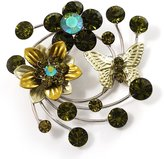 Avalaya Fancy Butterfly And Flower Brooch (Olive Green)