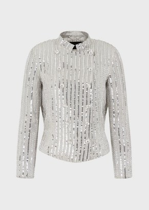 Emporio Armani Double-Breasted Silk Jacket With Alternating Sequins