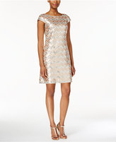 Vince Camuto Cap-Sleeve Chevron Sequined Dress