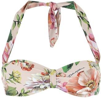 Dolce & Gabbana Floral Printed Bikini Top