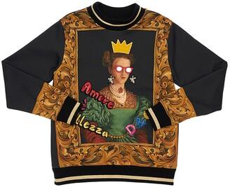 Dolce & Gabbana Queen Print Cotton Sweatshirt W/ Patch