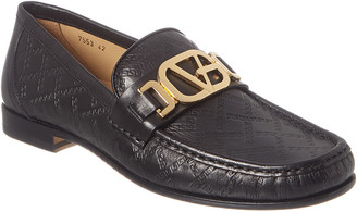 Versace Greek Key Embossed Leather Loafer