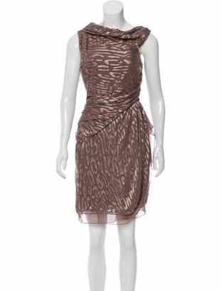 J. Mendel Draped Patterned Dress w/ Tags Mauve