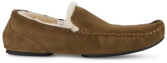 HUGO BOSS Relax Mocc brown shearling slippers