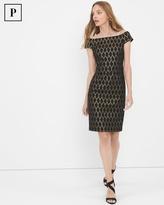 White House Black Market Petite Off-The-Shoulder Black Jacquard Shift Dress